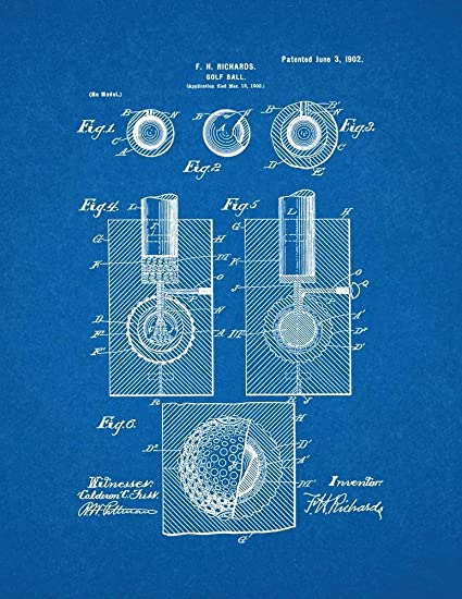 Amazon golf ball patent print art poster blueprint 85 x 11 golf ball patent print art poster blueprint 85quot malvernweather Image collections