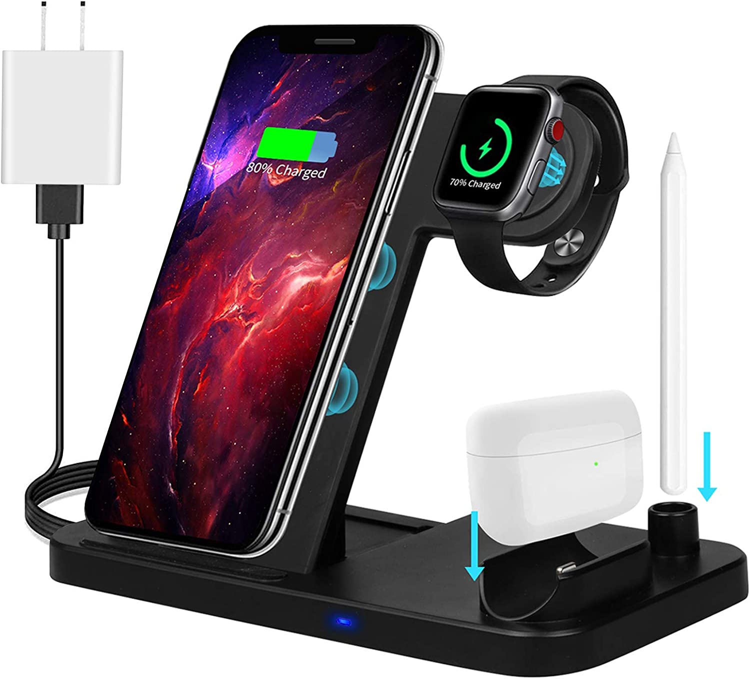 ZHOUBIN Wireless Charger Station, 4 in 1 Qi-Certified Fast Charging Dock Stand for Apple Watch-AirPods-Pencil, iPhone 11/11pro/X/XS/XR/Xs Max/8/8 Plus,Samsung Galaxy S20/S10