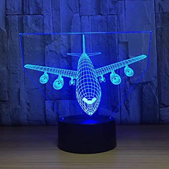 Desk Table Lamp Airplane 3D illusion Night Light 7 Changeable Colors LED Touch