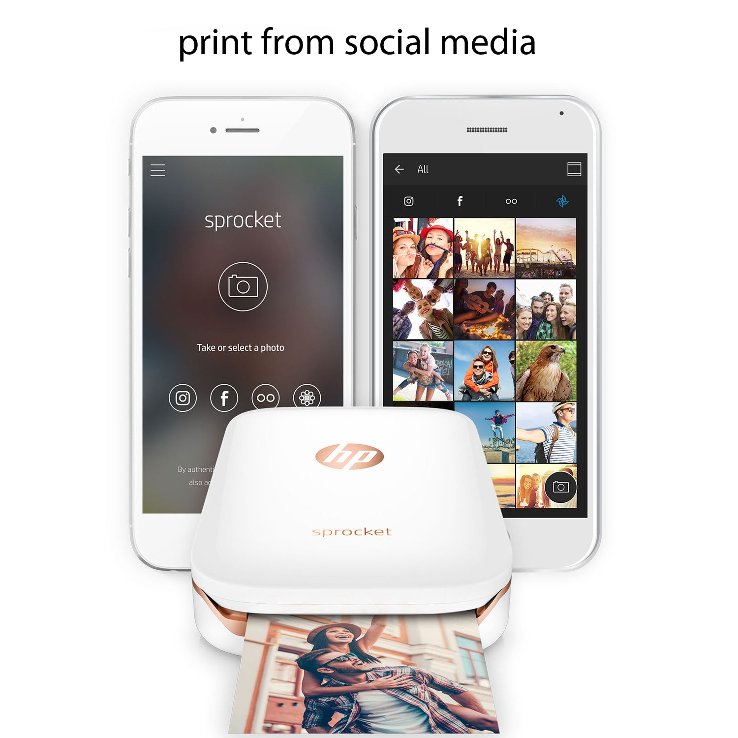HP Sprocket Photo Printer, Print Social Media Photos on 2x3 Sticky-Backed Paper (White) + Photo Paper (10 Sheets) + USB Cable with Wall Adapter Charger + HeroFiber Ultra Gentle Cleaning Cloth by HeroFiber (Image #4)