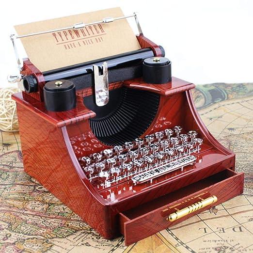 Caja de música modelo de máquina de escribir de madera, cajas de música antiguas clásicas creativas con el mini cajón regalo de boda de cumpleaños artesanía ...