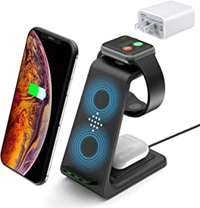 Wireless Charger for Apple Watch iPhone Airpod Charging Station, 3 in 1 Fast Charging Dock with Adapter for Samsung Watch Charger Stand