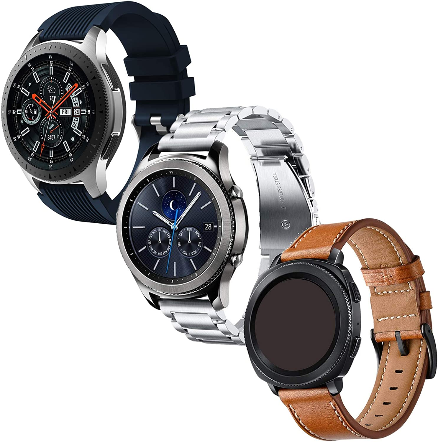 Anrir Compatible for Samsung Galaxy Watch 46mm Band, 22mm Leather+Silicone+Stainless Steel Band for Samsung Galaxy Watch 3 45mm,Garmin Vivoactive 4 45mm, Fossil Gen 5 Carlyle hr/Garrett-3 Pack