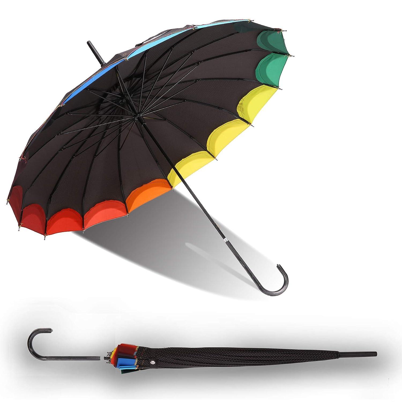 QUEENSHOW Creative Rainbow Pagoda Umbrella, Retro Small Fresh Wave point Sun Umbrella Stick Umbrella UV Protection Umbrella Retro with Hook Handle for Sun Rain Protection, Black