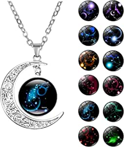 HTNBO Women Sterling Silver Horoscope Zodiac 12 Constellation Astrology Galaxy & Crescent Moon Glass Bead Pendant Necklace