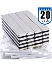 DIYMAG Strong Neodymium Bar Magnets with Double-Sided Adhesive, Rare Earth Neodymium Magnet - 60 x 10 x 3 mm, Pack of 20