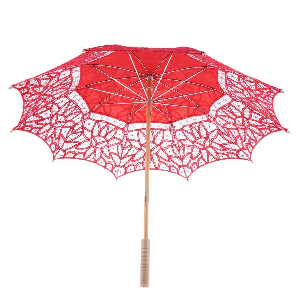 Baoblaze Handmade Victorian Battenburg Lace Cotton Wood Wedding Photo Parasol Umbrella