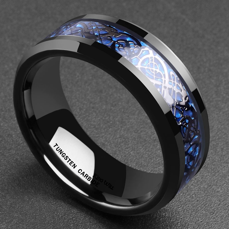 King Will DRAGON Men s 8mm Blue Carbon Fiber Black Celtic Dragon