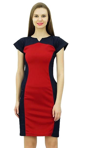 8b501480dd Bimba Women Designer Denim Bodycon Dress Cap Sleeve Short Panel Dresses at  Amazon Women s Clothing store