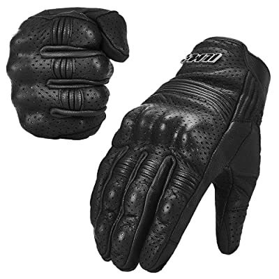 ILM Goatskin Leather Motorcycle Motorbike Powersports Racing Gloves Touchscreen for Men and Women Black: Sports & Outdoors
