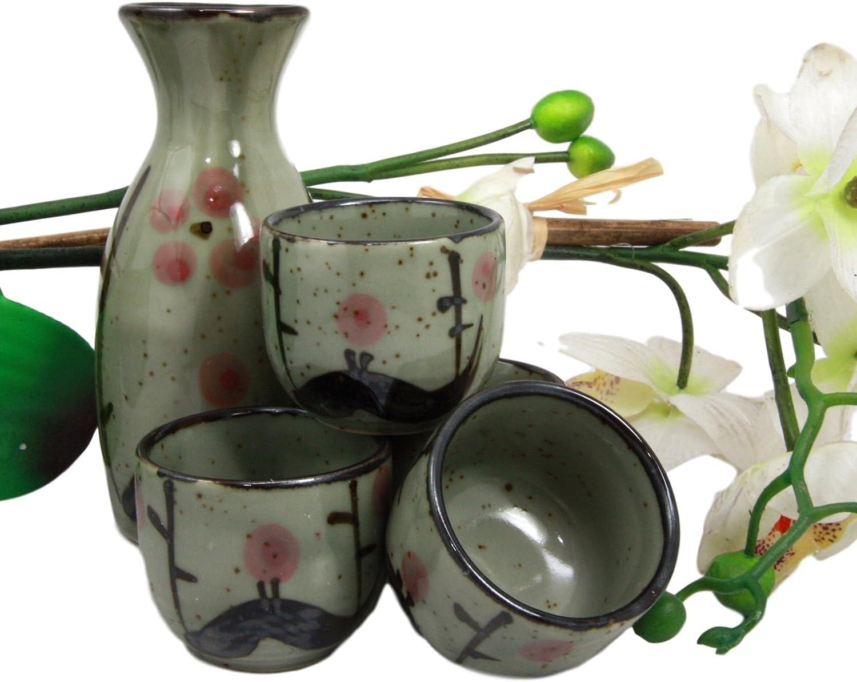 Set of 5 Japanese Porcelain Sake Bottle Cups Gift Set Green Bamboo Made in Japan