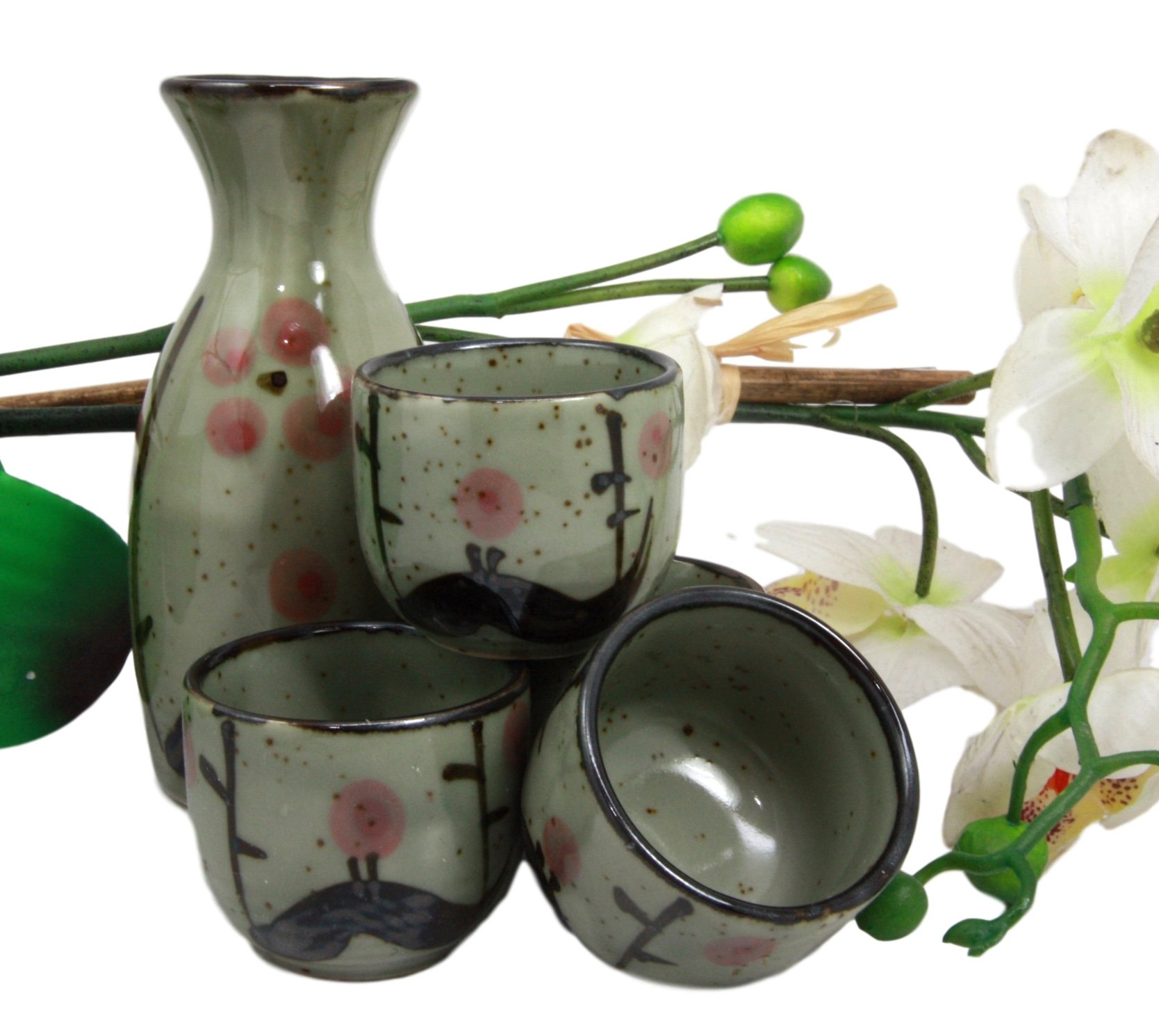 Atlantic Collectibles Japanese 5oz Ceramic Matcha Cherry Blossom Sake Set Flask With Four Cups Made In Japan