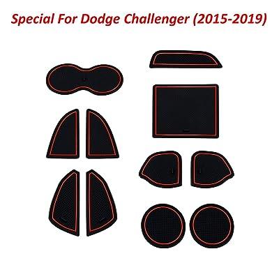 BESTWELL4U Cup Holder,Door,Console Liner Accessories for Dodge Challenger 2020-2015,11-Pcs-Set,Red Trim: Automotive