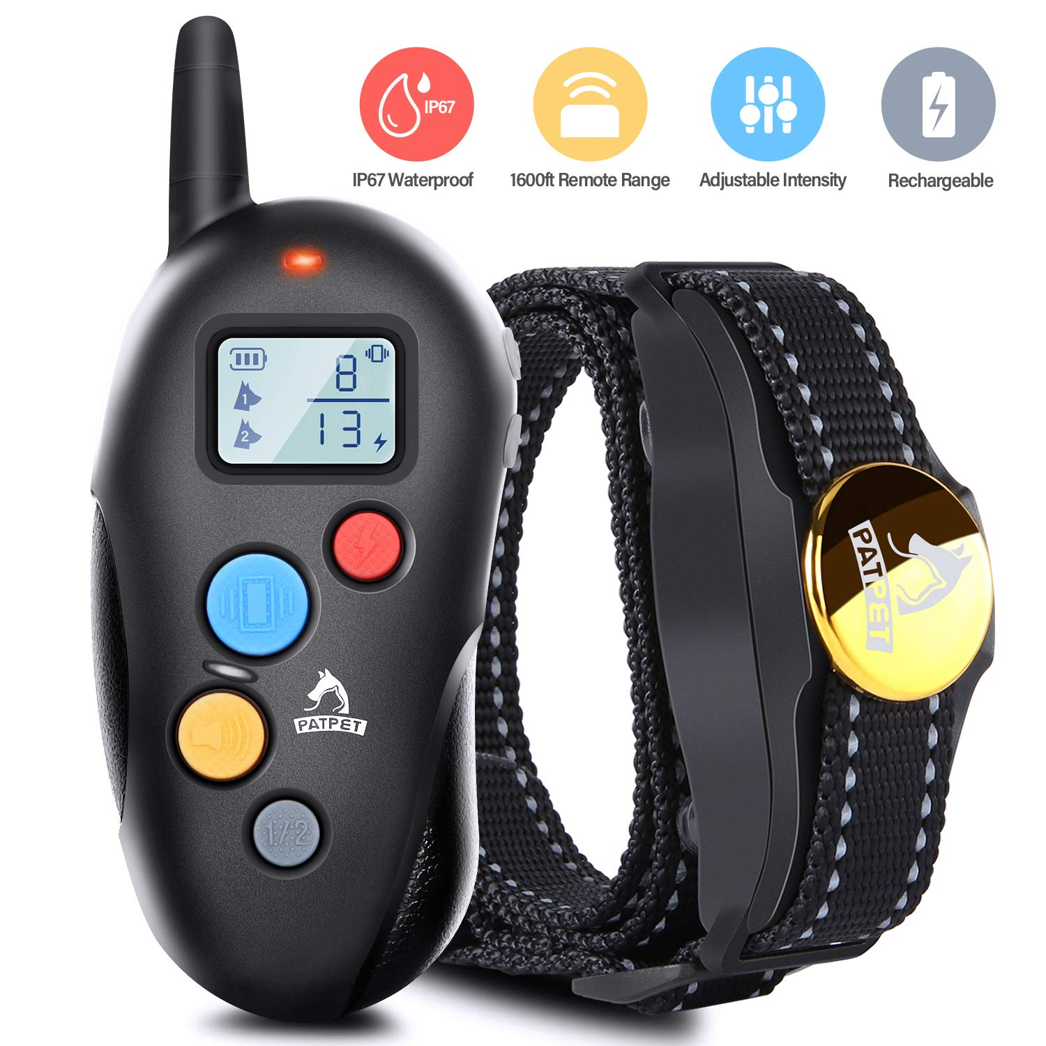 Patpet Dog Training Collar IPX7 Waterproof, Rechargeable Shock Collar for Dogs, 1600FT Long Remote Range, 3 Modes Beep/Vibration/Shock E Collar for All Sizes Dogs, Blind Operation& Mute Buttons Design