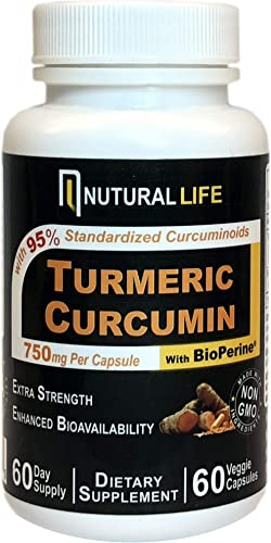 Turmeric Curcumin Supplement with BioPerine Black Pepper for Maximum Absorption, Supports Healthy Joint and Inflammatory Response with 95 Std. Curcuminoids, 750mg per Capsule, Nutural Life 60 count
