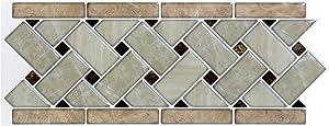 "Art3d 10-Sheets Peel and Stick Tile Backsplash - 12.4""x5"" Self-Adhesive Decorative Waist Line Mosaic Tiles for Kitchen and Bathroom"