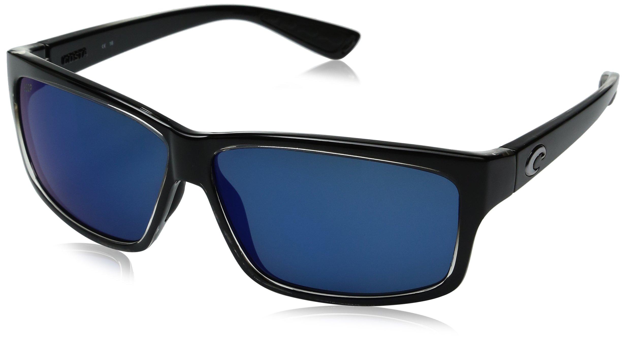 Costa del Mar Cut Polarized Rectangular Sunglasses, Squall/Blue Mirror 580 Plastic