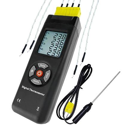 Termómetro de tipo K de 4 canales con termómetro digital de tipo K Metal y termómetro