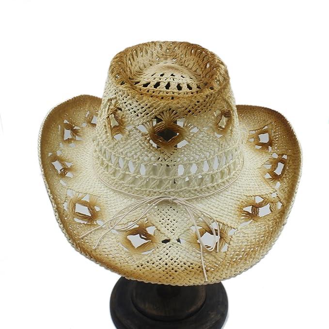 Battle Men Sombrero de vaquero occidental con rafia hueca para hombres Gorro  de vaquera con cáscara y decoracion 22