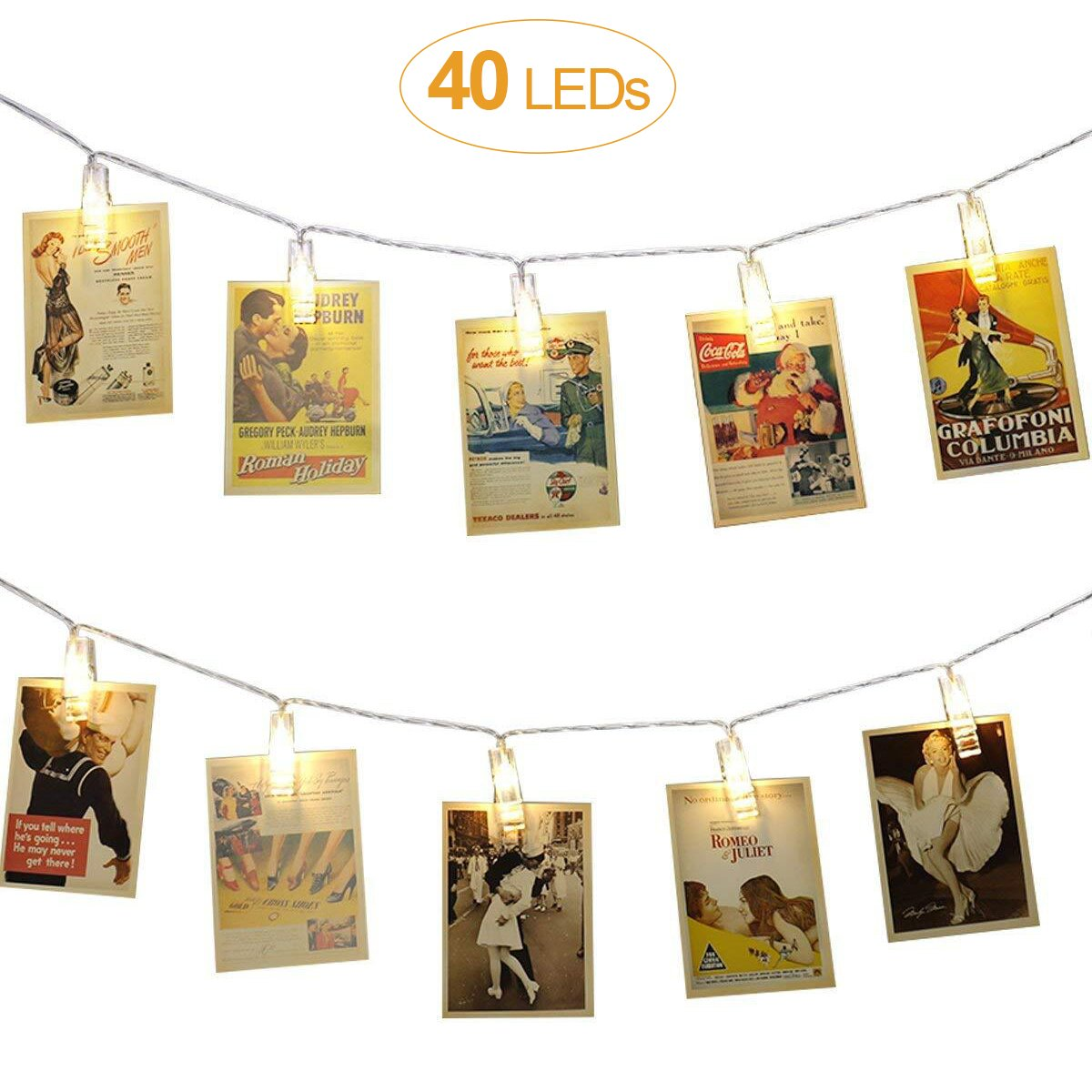 AOSTAR 40 LEDs Photo Clips String Lights (16.4ft, Warm White) Remote Control Fairy String Lights for Bedroom Hanging Photos, Cards and Artworks  by AOSTAR