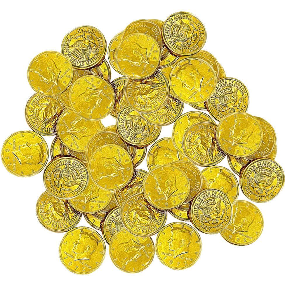 Chocolate Gold Coins - Large Bag of 60 Pieces Kennedy Gold Coins for Party Favors, Cake Decorations, Novelty Supplies or Treats for Halloween, New Year, St. Patrick's Day or Baby Showers