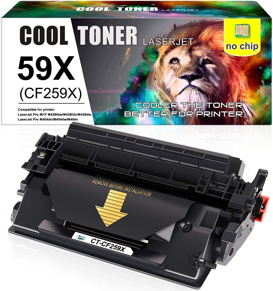 Cool Toner compatible para HP CF259X CF259A 59X 59A Cartucho de tóner para HP LaserJet Pro M404 M404n M404dn M404dw, HP LaserJet Pro MFP M428 M428dw M428fdn M428fdw, sin chip, 1000 páginas