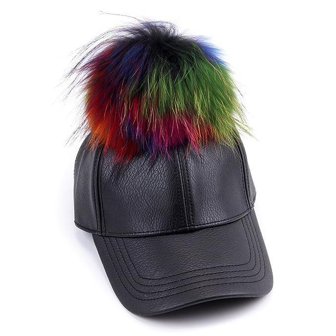 4470839a975 FURTALK Large Real Fur Pom Pom Baseball Cap Snapback Adjustable Leather Hat  (Black with colorful pom pom)  Amazon.ca  Jewelry