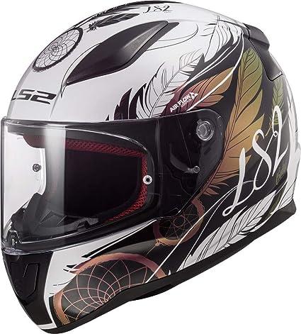 LS2 Casco de moto FF353 RAPID BOHO blanco, negro y rosa, blanco/negro/rosa, S
