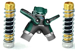2 Way Hose Splitter + 2 Kink Free 8cm Hose Savers
