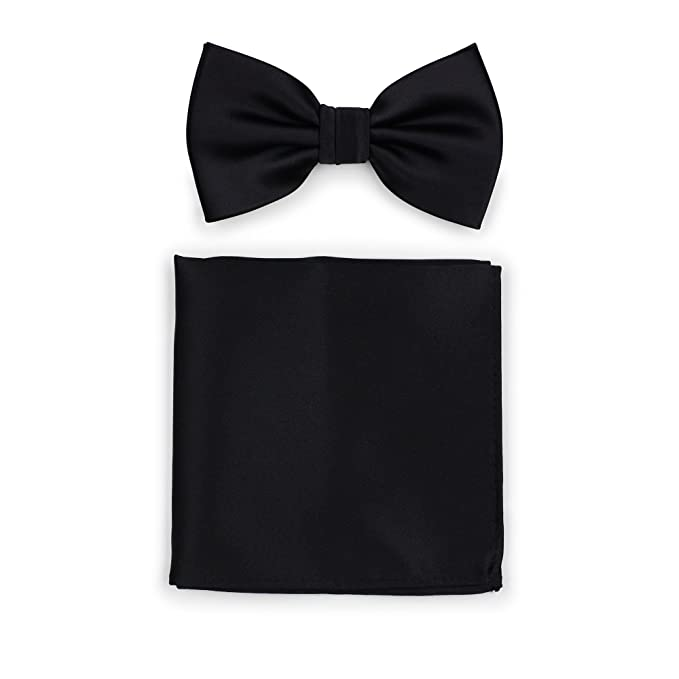 16db30fc2e29 Bows-N-Ties Men's Solid Adjustable Pre-Tied Bow Tie and Pocket Square. Roll  over image to zoom in