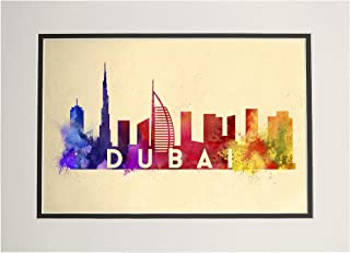 product image for Dubai, United Arab Emirates - Skyline Abstract (11x14 Double-Matted Art Print, Wall Decor Ready to Frame)
