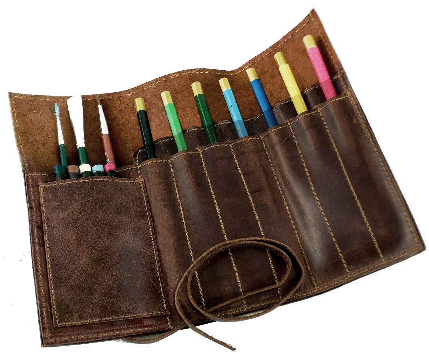 Rustic Art Brush Bag Genuine Leather Brown Pencil Roll Pouch Pen Case Holder Organizar Craft Color Brush Tool Bag for Artist Students Office Business Work GJB06 by QEES