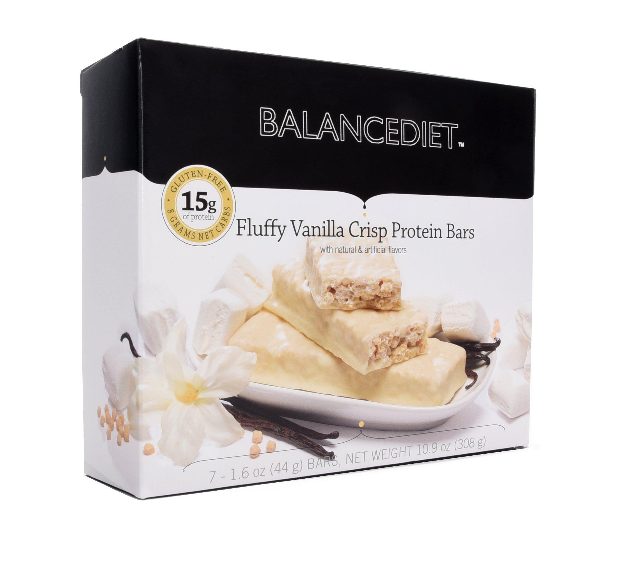 BalanceDietTM | Protein Bar | 15g of Protein | Low Carb | 7 Bar Box (Fluffy Vanilla Crisp) by BalanceDiet