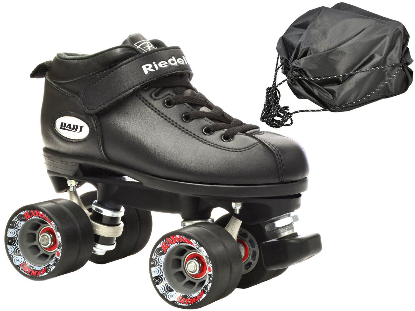 Riedell Dart Vader Quad Roller Derby Speed Skate Bundle w/ Drawstring Skate Bag & 2 Pair of Laces (Gray & Black) (Mens 9 / Ladies 10) by Riedell