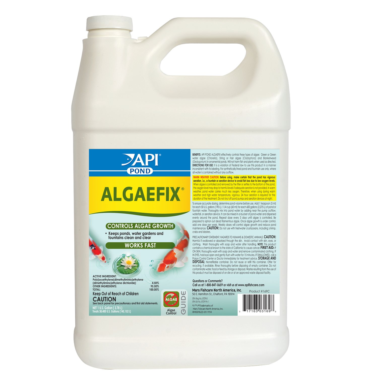 API POND ALGAEFIX Algae Control Solution 1-Gallon Bottle
