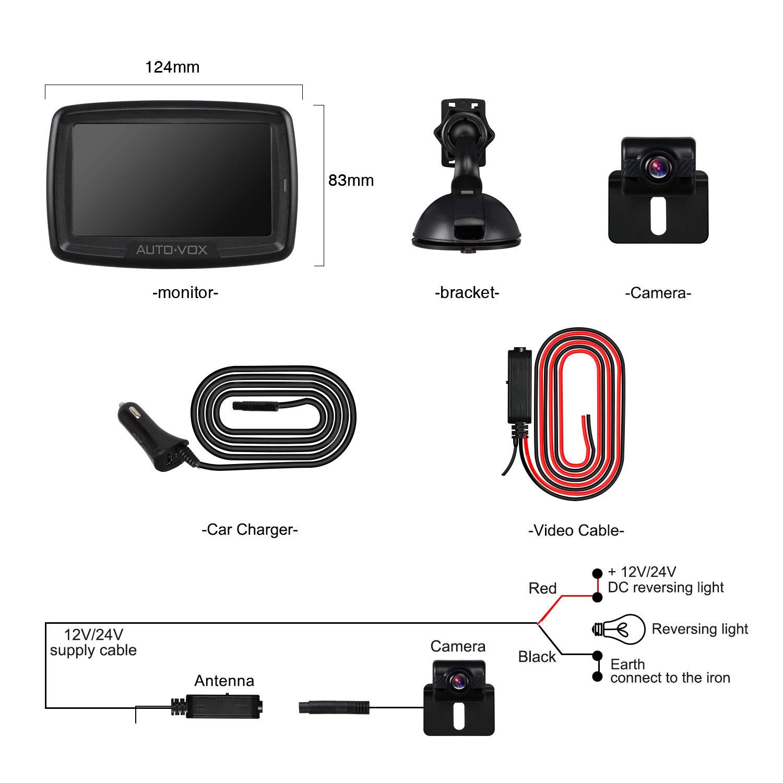 Bonne Vision Nocturne AUTO-VOX Cam/éra de Recul Sans Fil Cam/éra de Voiture Num/érique Cam/éra Etanche IP68 avec 4.3/'/' LCD Moniteur DC 12V//24V TD-2