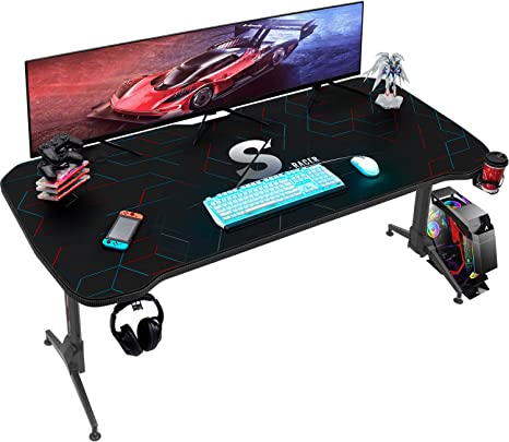 Homall Gaming Desk 60 Inch Pc Computer Desk Office Table Worksation T Shape Height Adjustable With Full Desk Mouse Pad Gaming Handle Rack Cup Holder And Head Set Rack Black Amazon Ca Home
