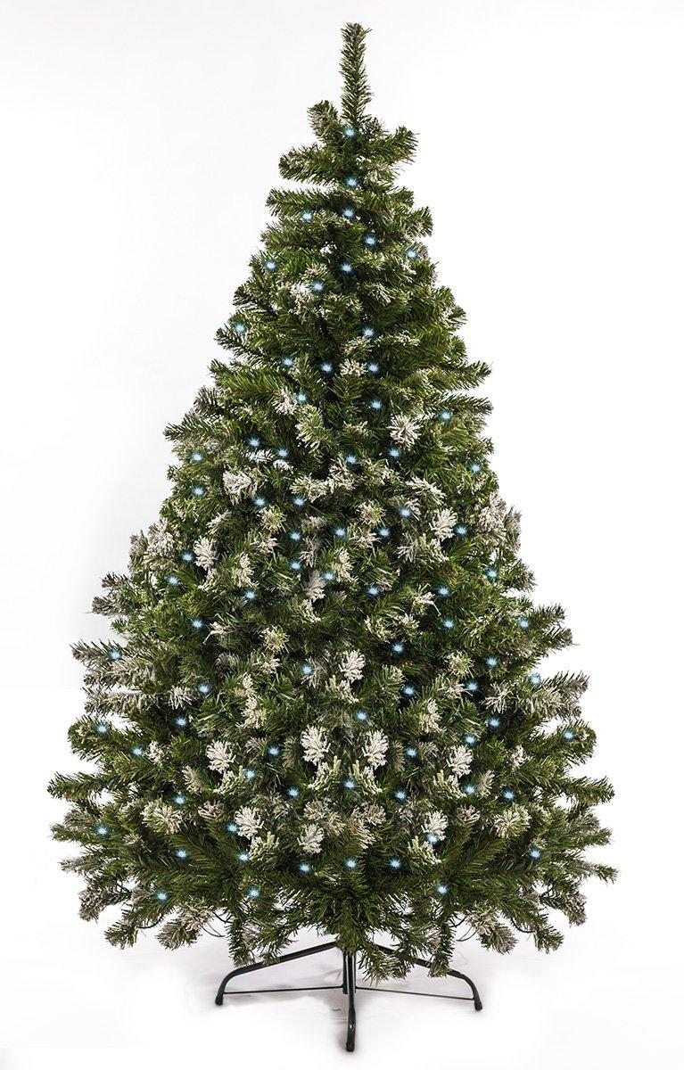 Awshop24 Künstlicher Weihnachtsbaum Tannenbaum Christbaum Tanne künstlich 120-210cm Lichterbaum Kunstbaum (Grün mit Schnee-Effekt und LED, 210 cm)