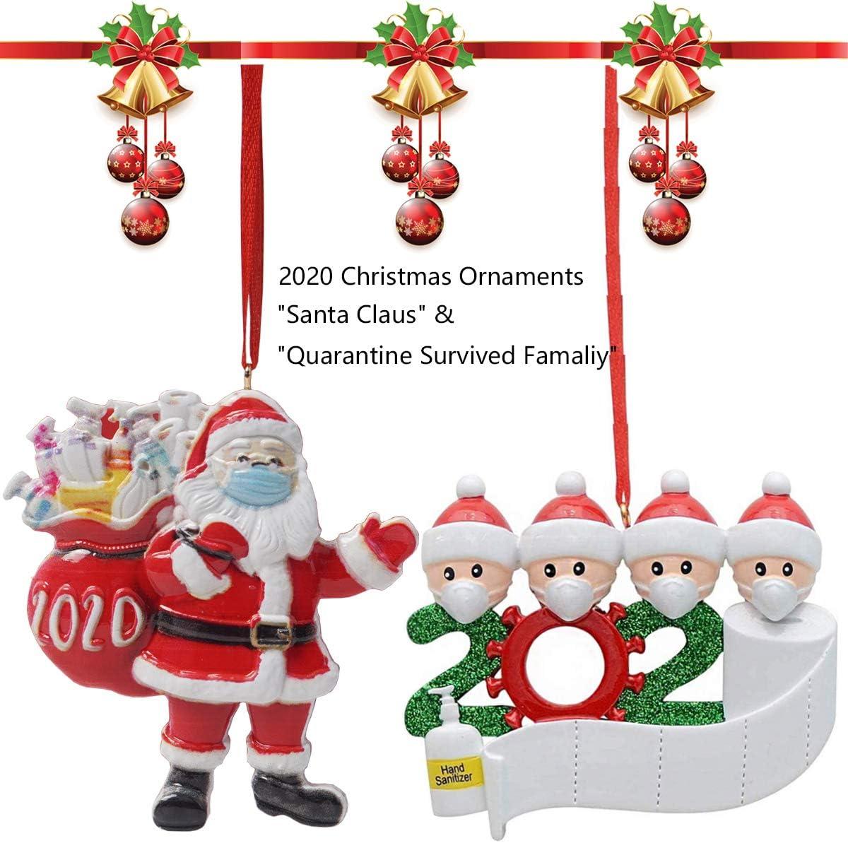 2020 Creative Christmas Hanging Decorations Ornaments, DIY Quarantine Survivor Family & Santa Claus with Faca Mask Hanging Pendant Customized for Xmas Tree Home Indoor Decor, Memorable Gifts Keepsake