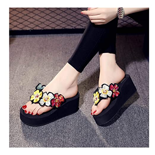 b444b5beeb5c Amazon.com  Challyhope Women Sweet Cute Slipper Bling Floral Wedges Flip  Flops Sandals Slippers Beach Shoes for Ladies Girls Pink  Clothing