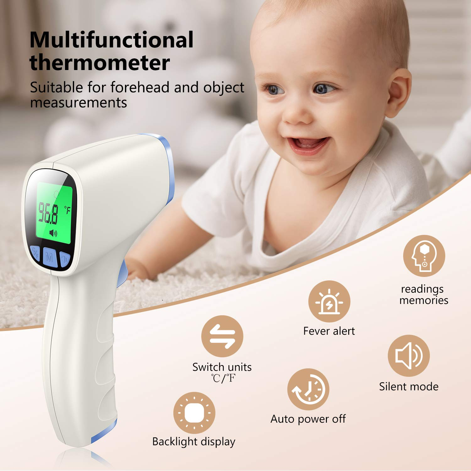 Baby Thermometer Non Contact Thermometer for Forehead and Object Surface Measurement with Instant Reading and Fever Warning for Kids and Adults Sky Blue