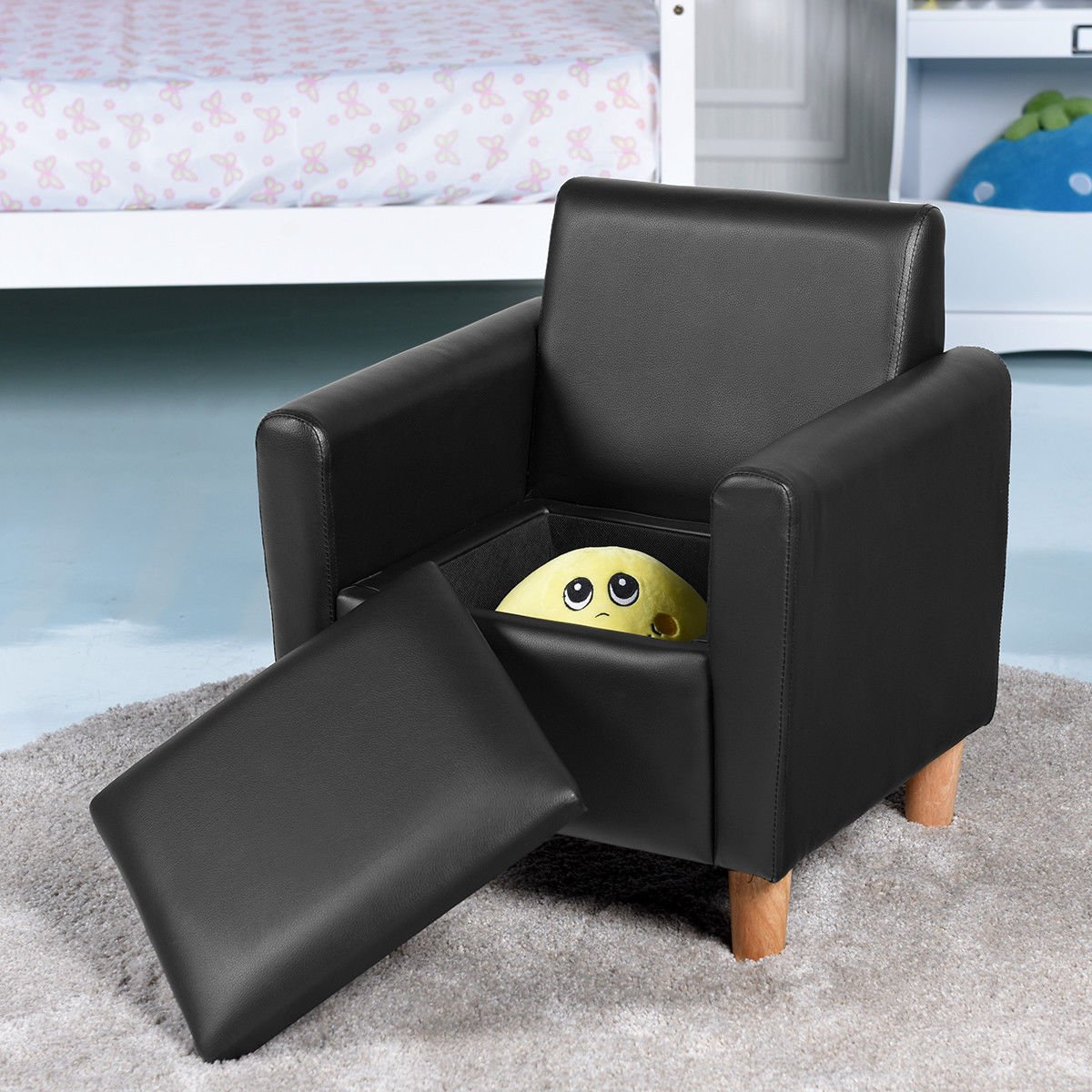 Costzon Kids Sofa, Upholstered Armrest, Sturdy Wood Construction, Toddler Couch With Storage Box (Single Seat, Black)