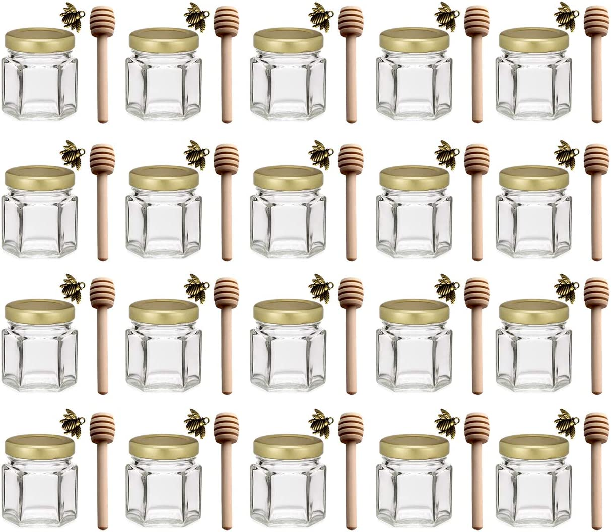 1.5 oz Hexagon Mini Glass Honey Jars with Wood Dipper, Gold Lid, 20 pack