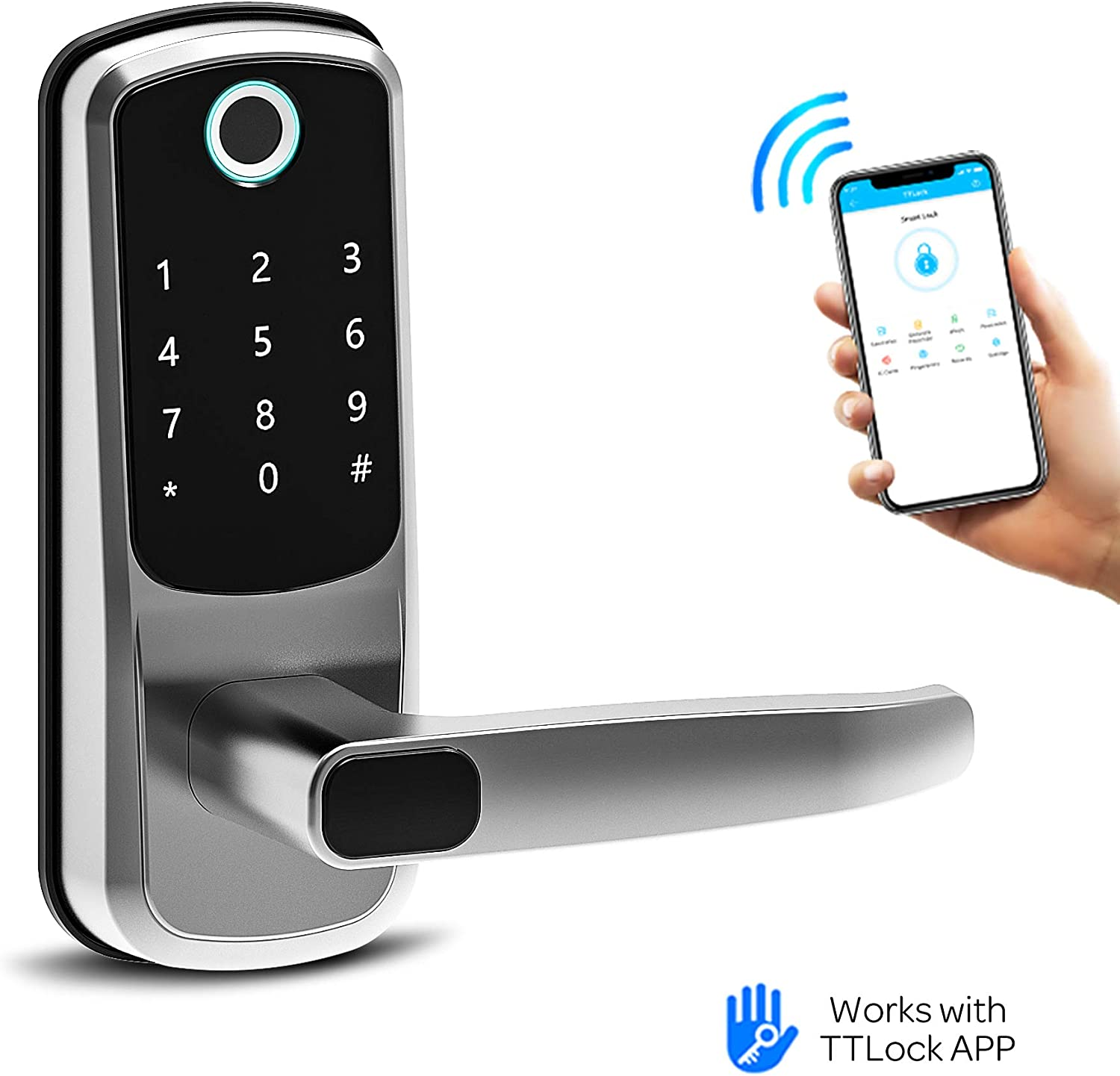 Smart Lock, CATCHFACE Digital Electronic Bluetooth Front Door Smart Lock with Fingerprint App Code and IC Card Mechanical Key,Keyless Entry Door Lock for Home Office Apartment Garage School Airbnb