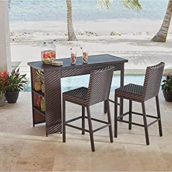 Amazon Com Hampton Bay Rehoboth 3 Piece Wicker Outdoor Bar Height