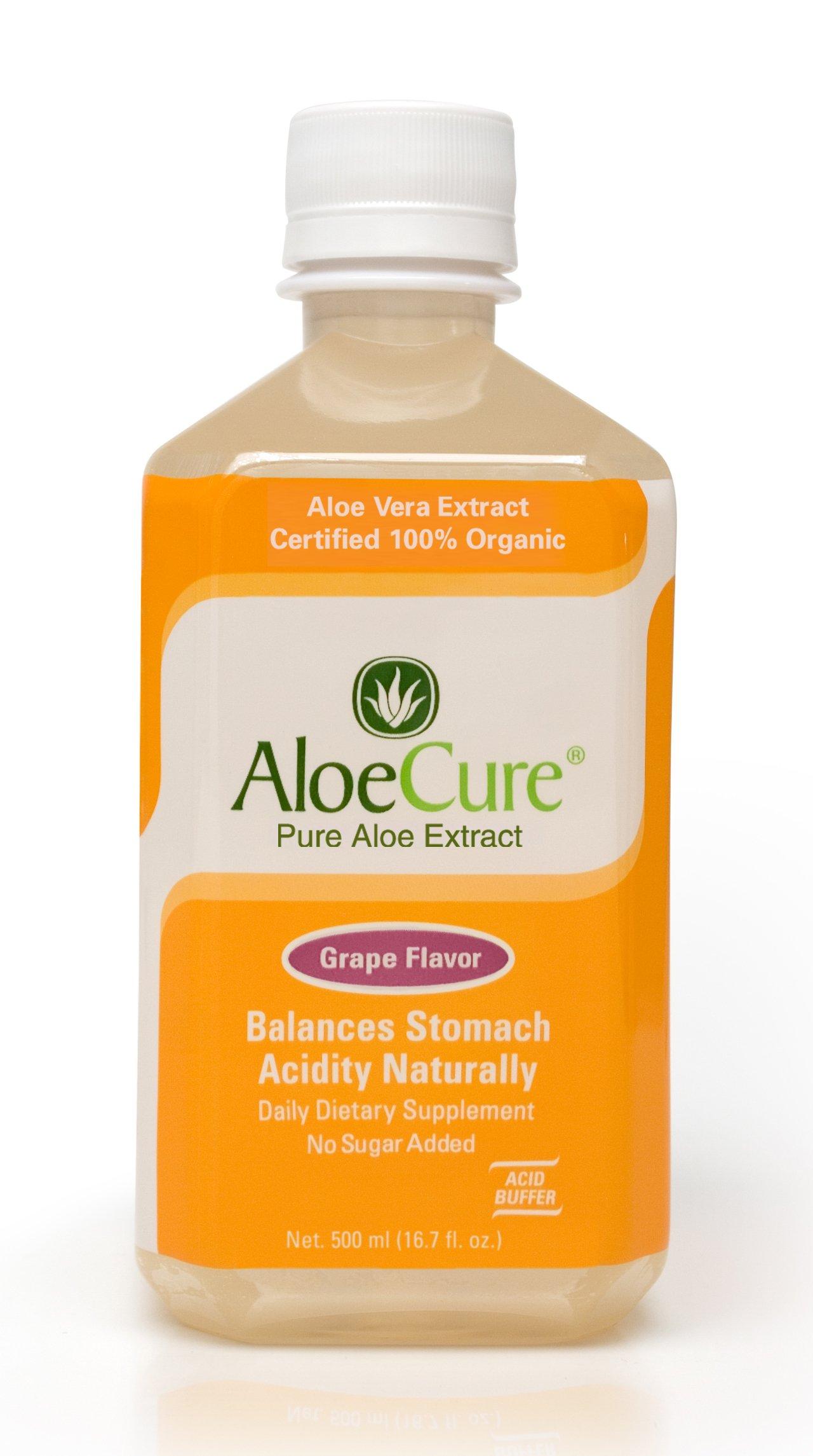 AloeCure Pure Aloe Vera Juice for Bouts of Acid Reflux, Heartburn, and IBS - Grape,18