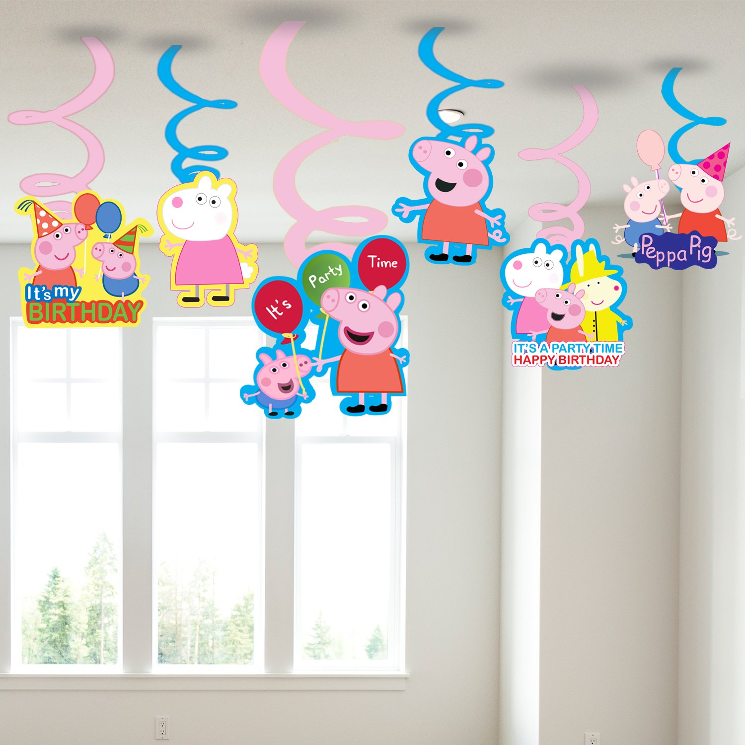 PARTY PROPZTM Peppa Pig Swirls Hanging Set Of 6 Party Supplies Decoration Amazonin Home Kitchen