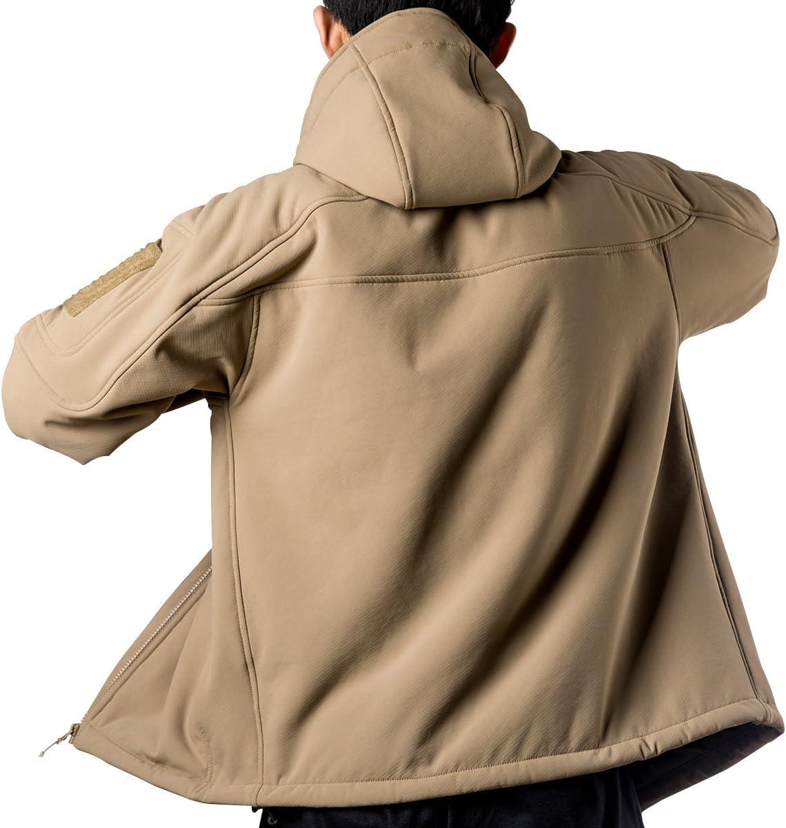 para senderismo cortavientos monta/ñismo chaqueta de softshell y forro polar FREE SOLDIER Crew Midlayer Chaqueta impermeable con capucha para hombre esqu/í
