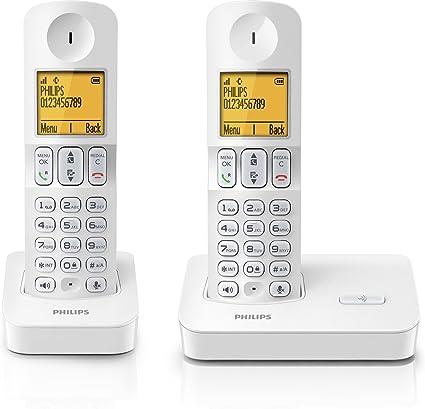 Philips D400 DUO - Teléfono fijo digital (Identificador de llamadas, llamada en espera, manos libres), blanco: Amazon.es: Electrónica