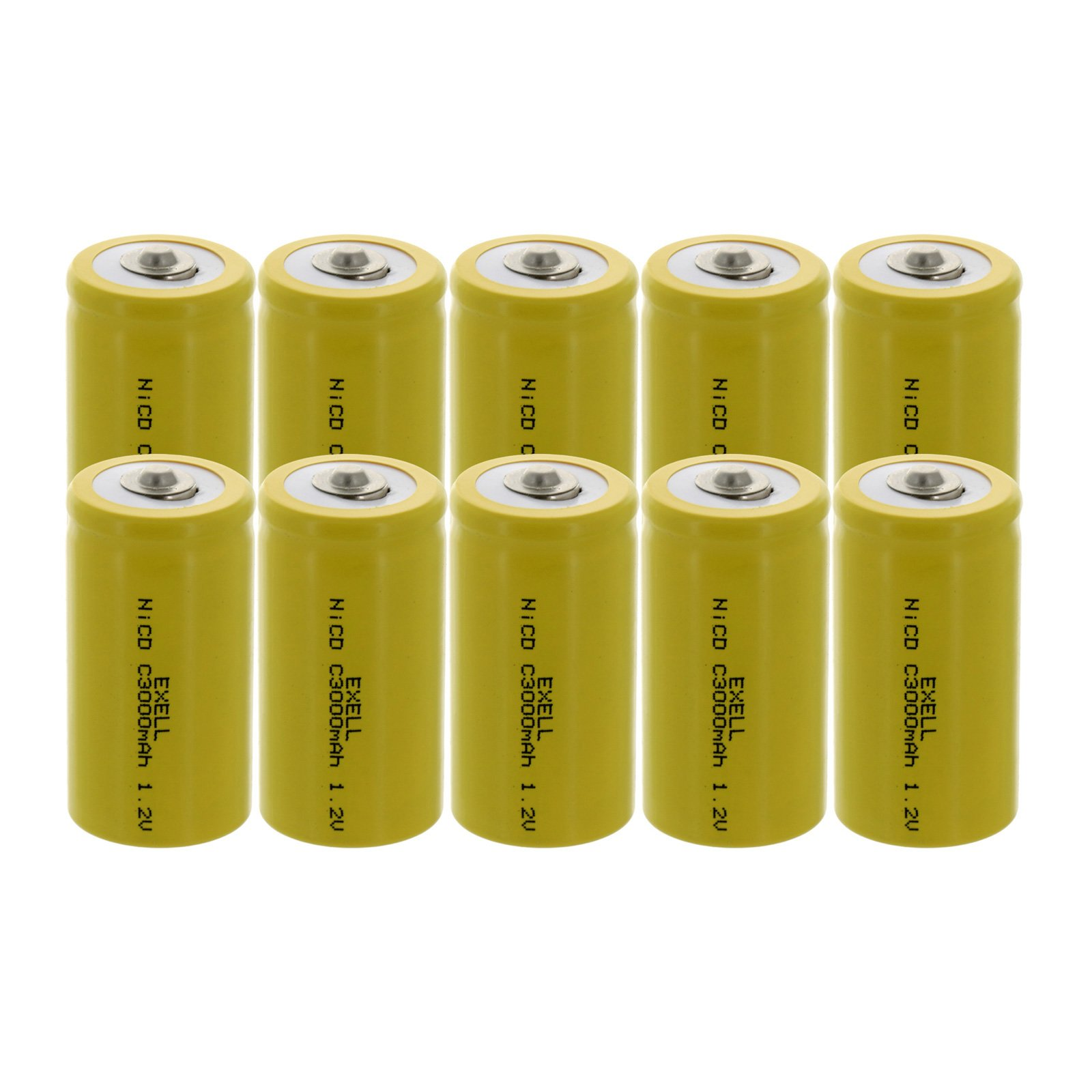 10x Exell C Size 1.2V 3000mAh NiCD Button Top Rechargeable Batteries for medical instruments/equipment, electric razors, toothbrushes, radio controlled devices, electric tools by Exell Battery